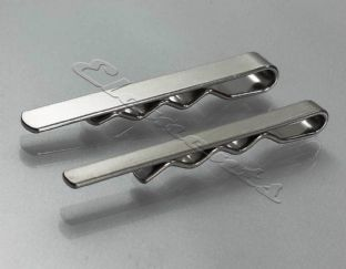 Matt Satin Finish Silver Tone Tie Clip Slide Bar